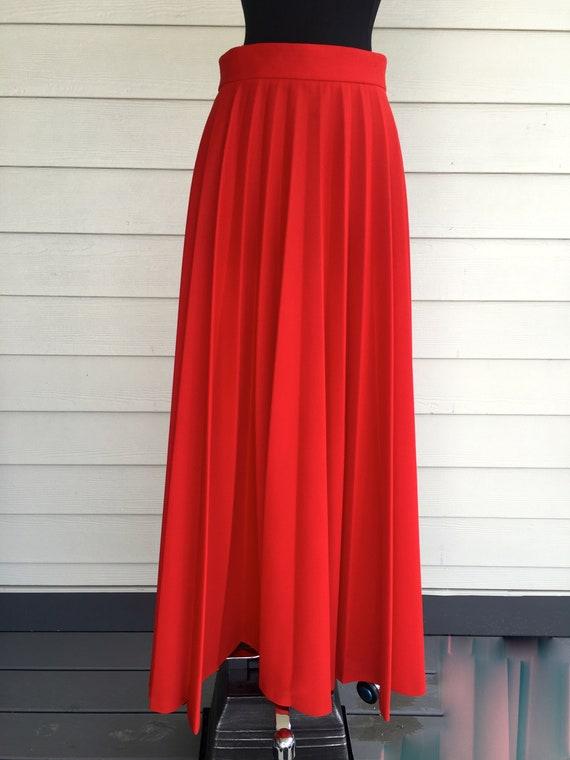 1970s Red Polyester Full Skirt