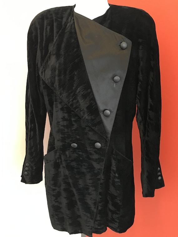 1980s Escada Crushed Velvet Tuxedo Jacket