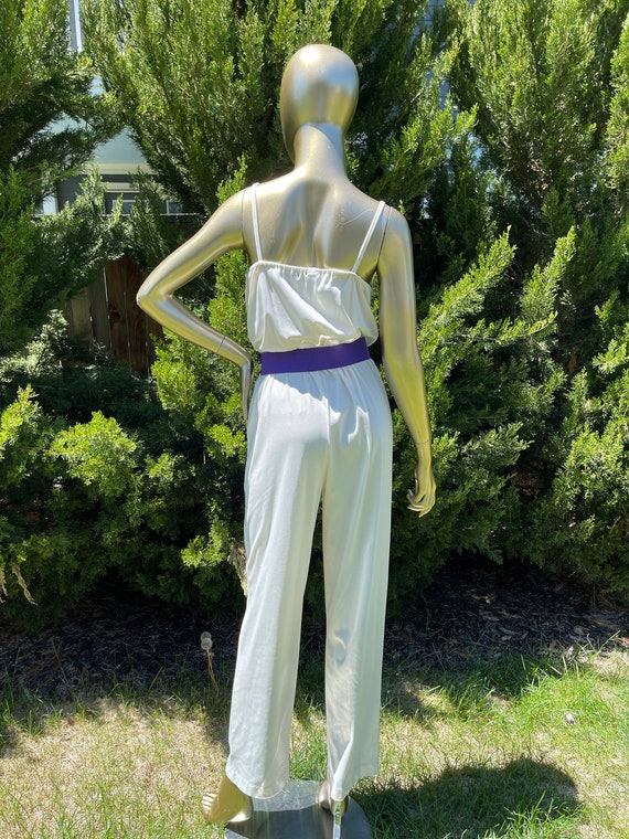 1970s White Polyester Jumpsuit - image 7