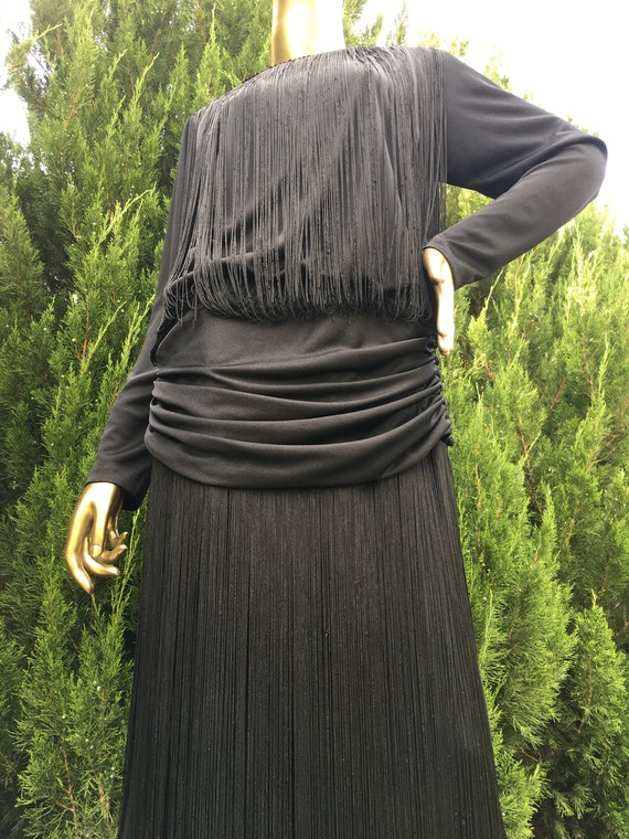 1970s Black Dress with Fringe Bodice and Skirt