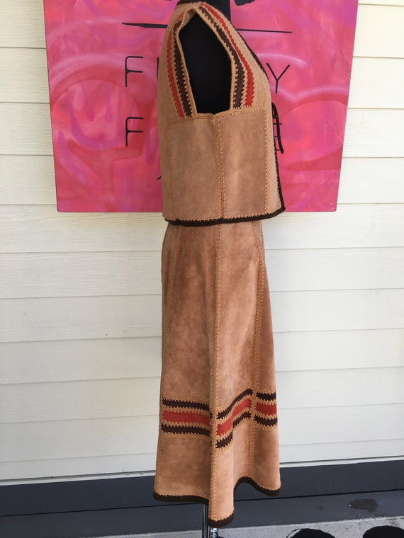 1970s Suede Vest and Skirt - image 8