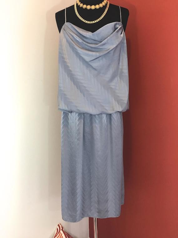 1970s Chevron Print Gray Silk Dress