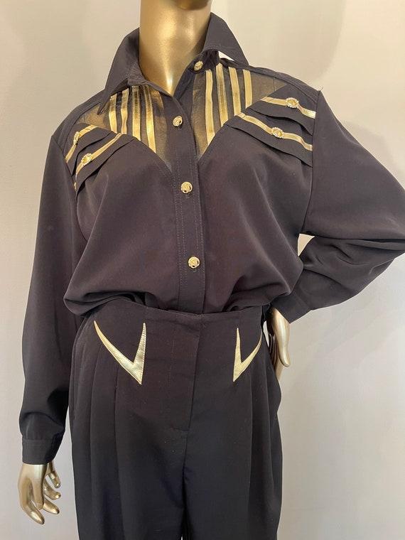 1980s Gantos Black Pant Suit with Gold Detail