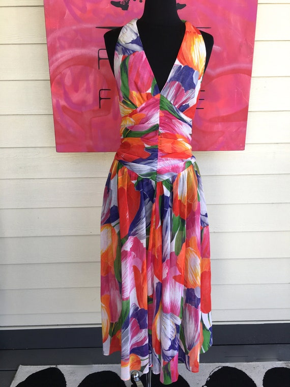 1980s Hotline Tulip Halter Dress