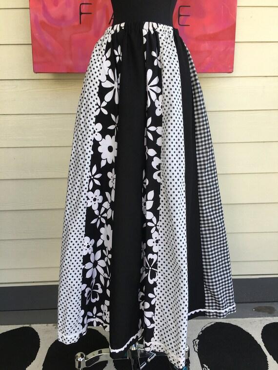 1970s Graphic Cotton Full Skirt