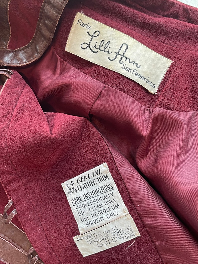 1970s Lilli Ann Burgundy Suede Jacket with Leather Trim