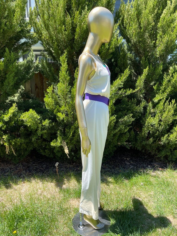1970s White Polyester Jumpsuit - image 6