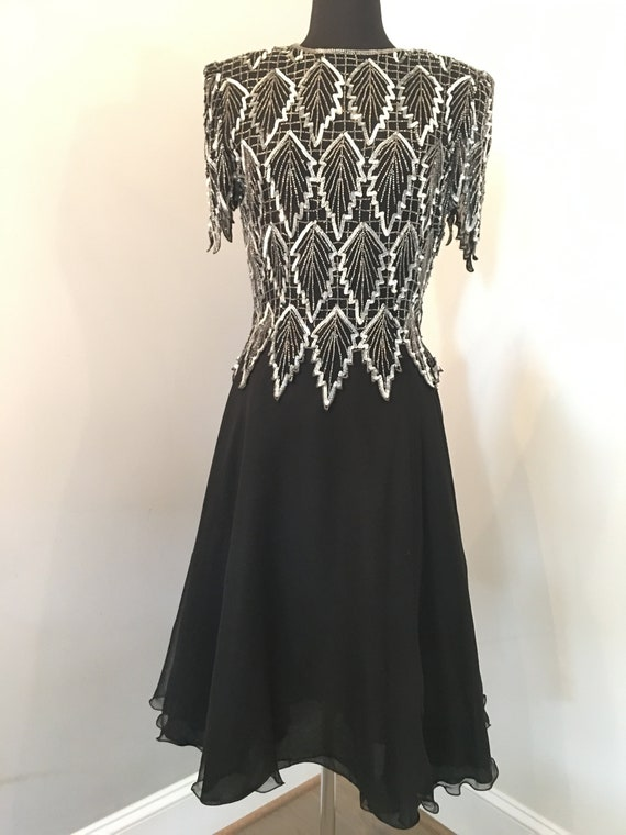1980s Laurence Kazar Sequin Leaves Dress