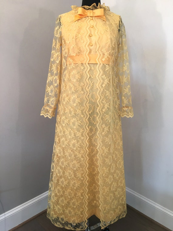 1970s Yellow Lace Dress with Sheer Lace Overcoat
