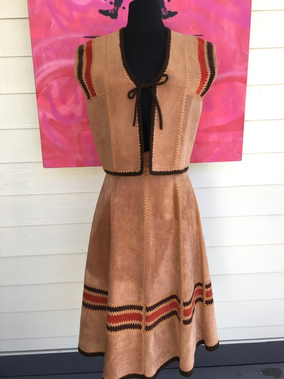 1970s Suede Vest and Skirt