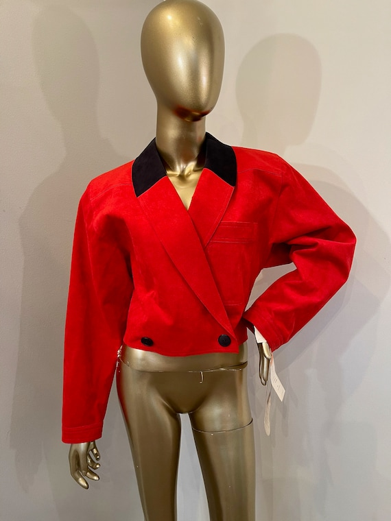 1970s Bill Blass Ultra Suede Red Cropped Coat