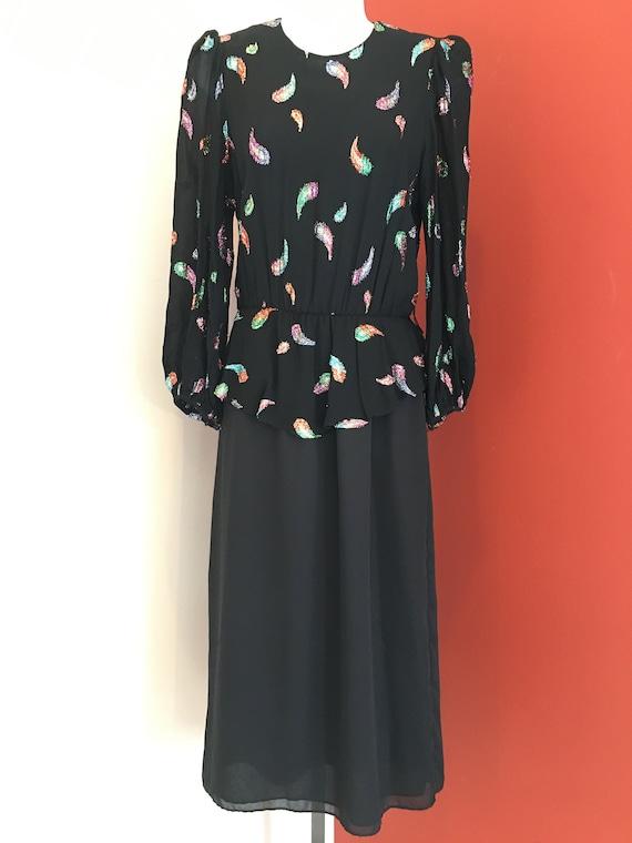 1970s Black Metallic Print Dress
