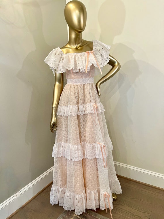 1970s Eyelet Lace Long Prairie Dress