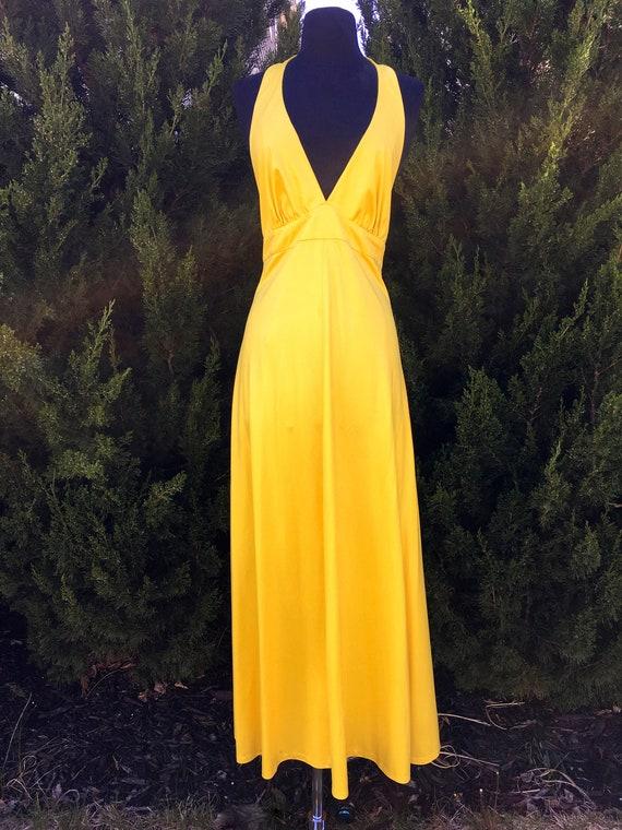 1980s Neoprene Acid Yellow Halter Dress