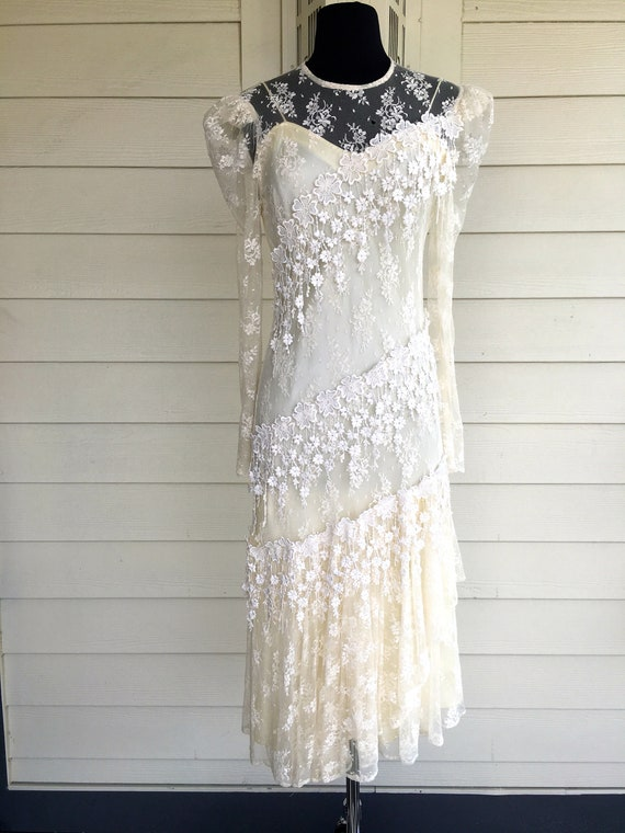 1980s Patra Cream Lace Dress