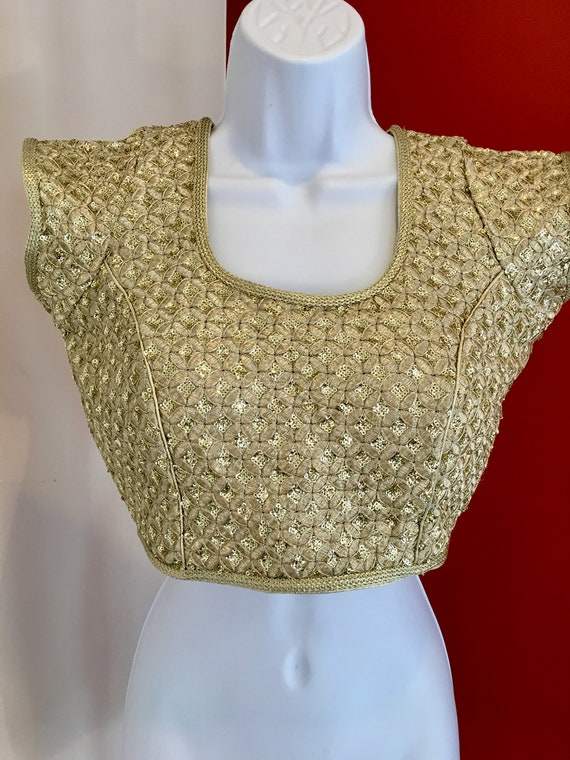 1970s Gold Lame Cropped Bodice