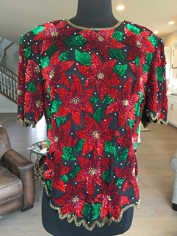 Details about  /Vintage Lawrence Kazar Size S Sequined Beaded Christmas Poinsettias Blouse