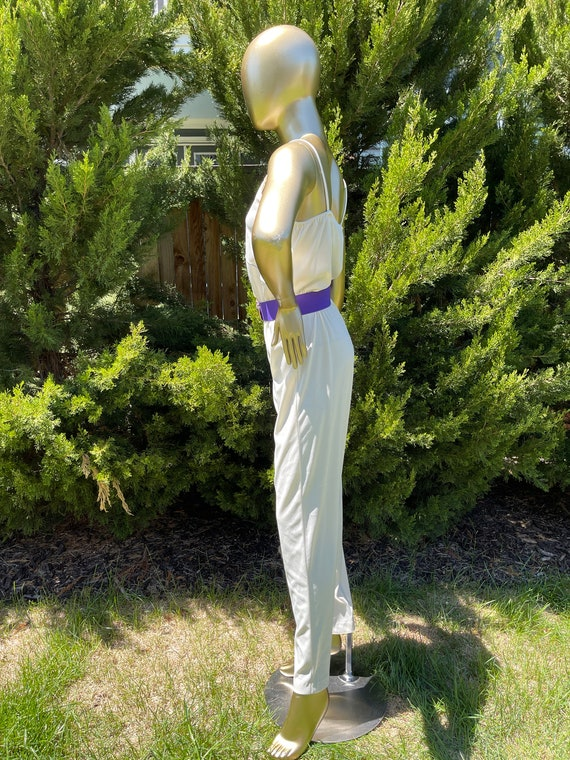 1970s White Polyester Jumpsuit - image 9
