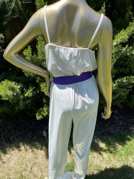 1970s White Polyester Jumpsuit - image 8