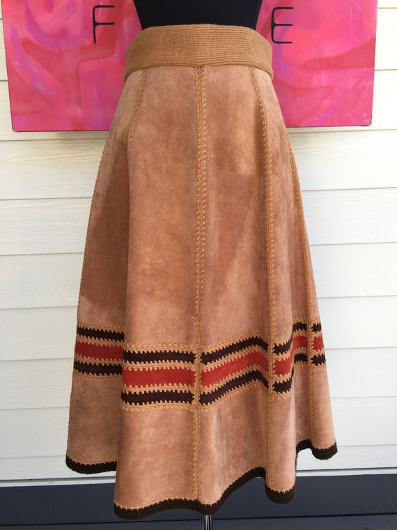 1970s Suede Vest and Skirt - image 6