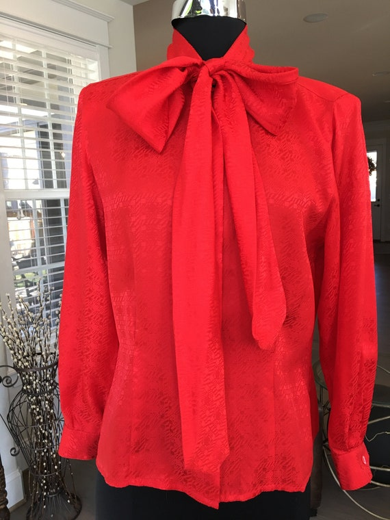 1980s Christian Dior Red Silk Pussy Bow Blouse