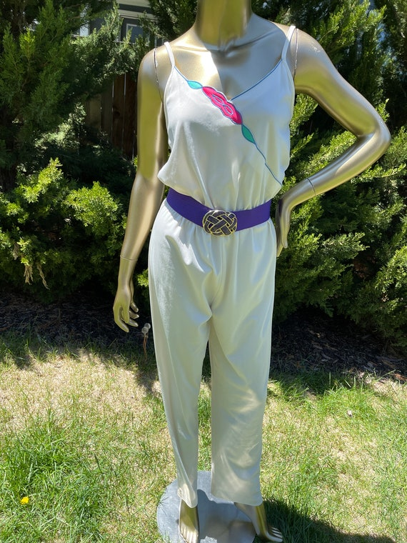 1970s White Polyester Jumpsuit - image 4