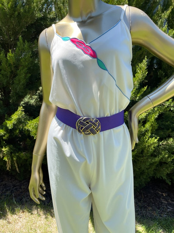1970s White Polyester Jumpsuit - image 5