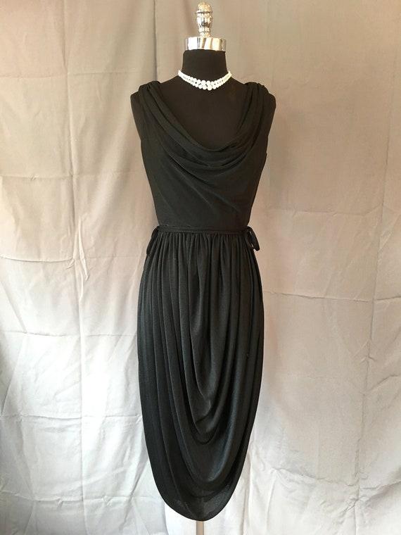 1970s Jack Bryan Black Jersey Cocktail Dress