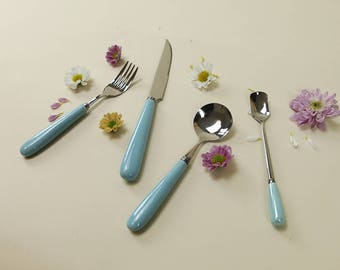 Flatware Ceramic Stainless Place Setting Knives | Spoons | Forks in Turquoise | Utensil Set | Cutlery Set | Candy Color