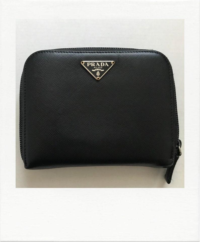 b05e15f6f3 PRADA Black Saffiano Compact Wallet
