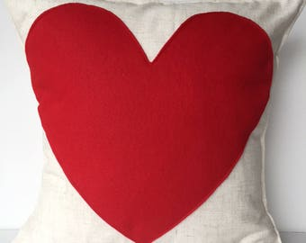 Linen and Felt Heart Valentine's Day Pillow Cover