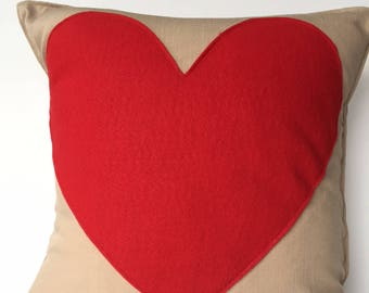 Linen and Felt Valentine's Day Pillow Cover