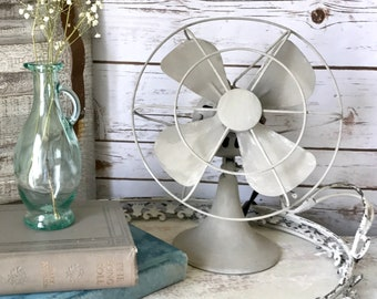 Vintage Gray Fan | Chalk Painted | Upcycled Vintage | Farmhouse Home Decor | Antique Style | Shabby Chic | Diel Fan