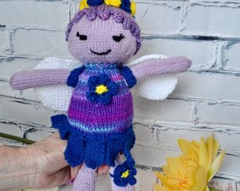 Flower fairy knit doll, handmade knit doll, OOAK gift