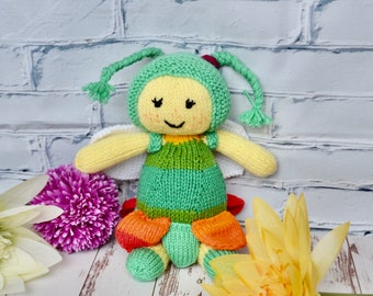 Flower Fairy knitted doll, handcrafted, unique, OOAK, gift
