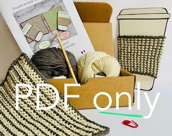Tunisian crochet kit for beginners, PDF only, Tunisian crochet pattern, double-ended hook, crochet tutorial