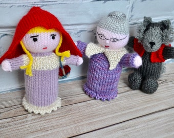 Little Red Riding hood doll, grandma doll, wolf doll, classic children stories, knitted dolls, child gift