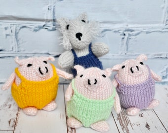 The Wolf and the 3 little pigs, stuffed dolls, knitted dolls, classic children stories, child gift