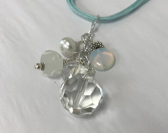 Iridescent Round Crystal Pendant Necklace  With Moonstone