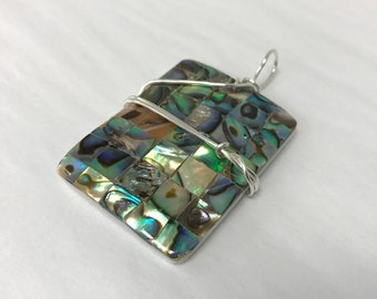 Rectangle Abalone Iridescent Shell Wired Wrapped Pendant