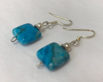 Bright Blue Crazy Lace Agate Square Earring
