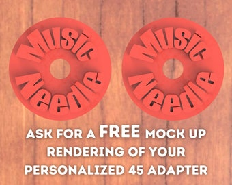 Two Personalized Text 45 RPM Record Adapter  #1