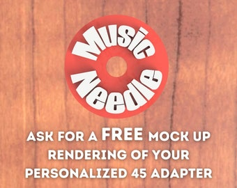 One Mutlicolored Personalized Text 45 RPM Record Adapter