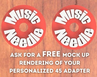 Two Mutlicolored Personalized Text 45 RPM Record Adapter Mutlicolored