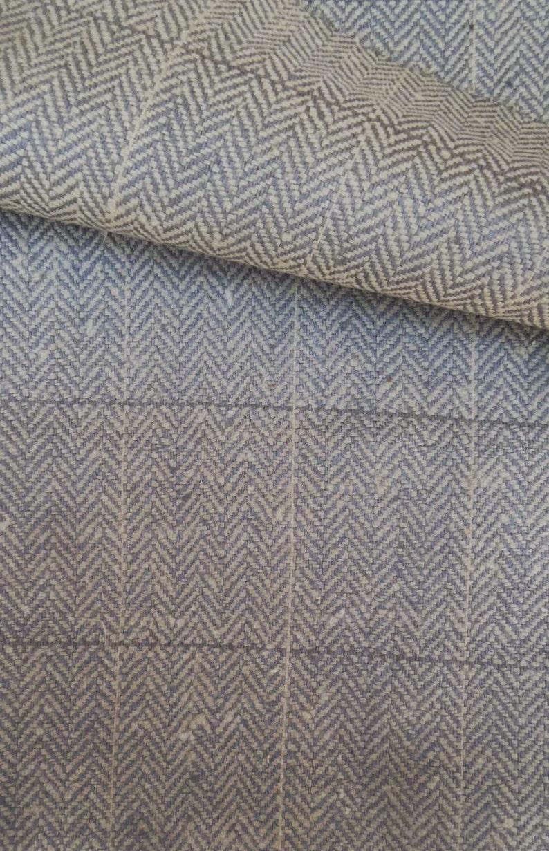 Exclusive Herringbone Tweed Pure Silk with Windowpane Grey Sand  Made in Italy #703 Summer Sale