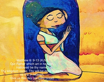 The Lord's prayer, scripture print, scripture art, our father, matthew 6: 9-3, bible verse art, bible verse sign, scriptures, wall art