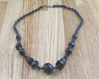 Vintage Black Glass Necklace, Hippy Jewellery, Womans Necklace, Womans Jewelry, Hippy Necklace, Boho Necklace, Retro Jewellery