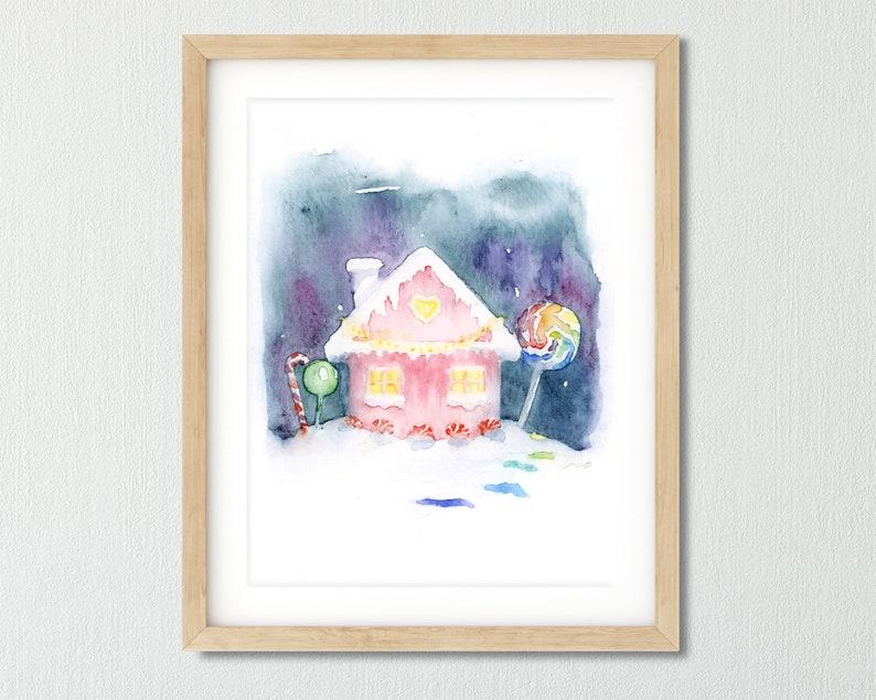Fairytale Print Nursery Printable Art Kids Room Art Nursery Watercolor Printable Baby Wall Art Printable Candy House Nursery Wall Art