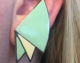 Retro Vintage 1960s Geometric Turquoise Earrings