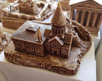 Armenian churches from gypsum. (1) a church called Geghard (2) a church called Etchmiadzin (made by hands)